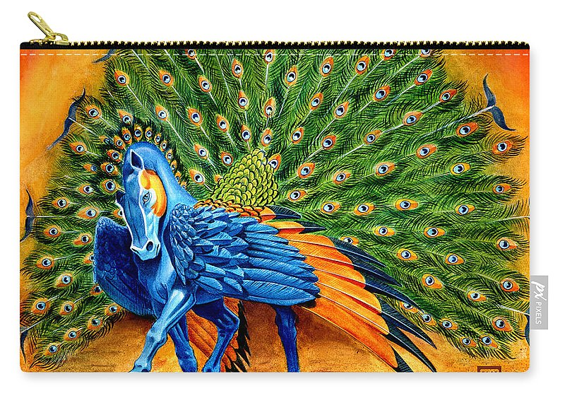 Horse Carry-all Pouch featuring the painting Peacock Pegasus by Melissa A Benson