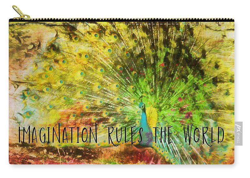 Peacock Carry-all Pouch featuring the photograph Peacock Strut Quote by JAMART Photography