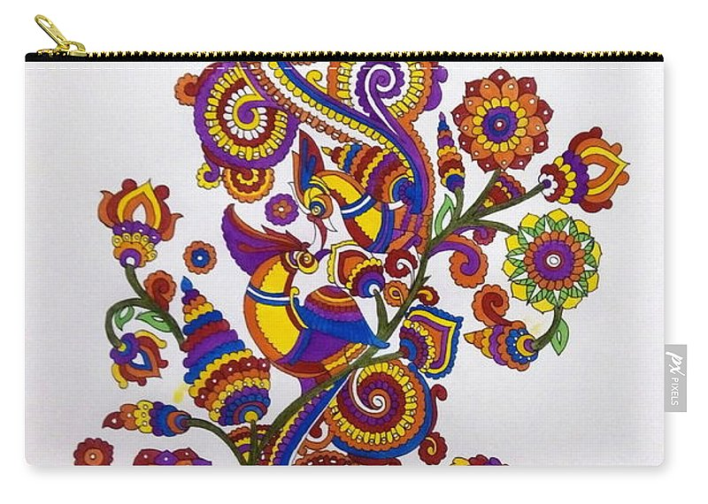 Birds Carry-all Pouch featuring the painting Peacocks by Silpa Saseendran