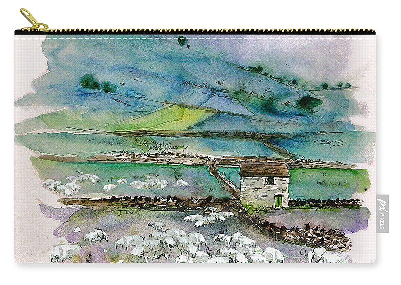 Paintings England Watercolour Travel Sketches Ink Drawings Art Landscape Paintings Town Carry-all Pouch featuring the painting Peak District Uk Travel Sketch by Miki De Goodaboom