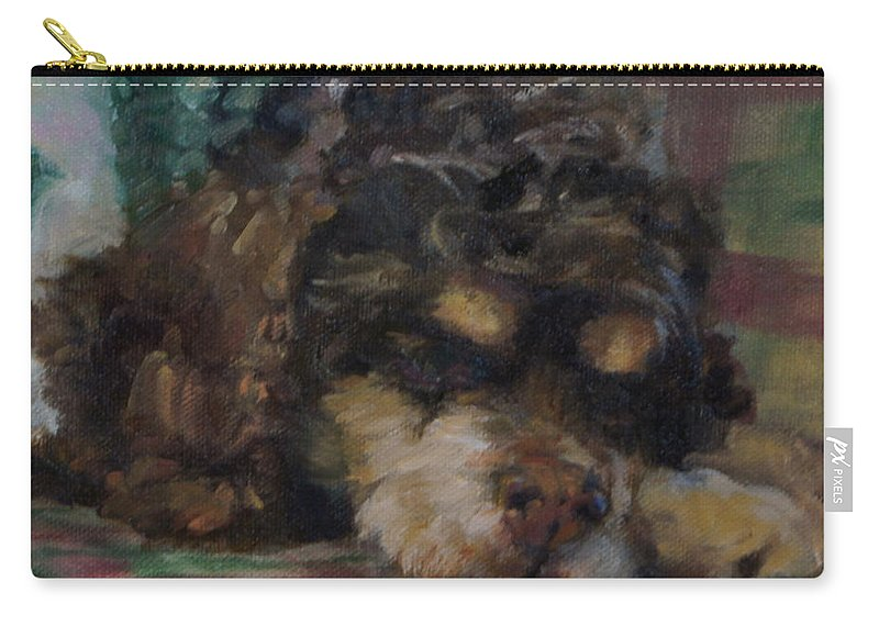 Dog Carry-all Pouch featuring the painting Peanut, Square by Mary Haas
