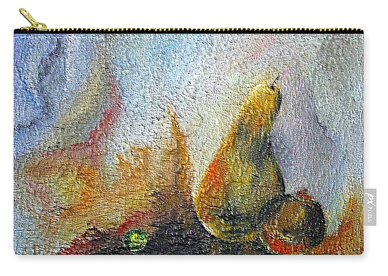 Mixed Media Carry-all Pouch featuring the mixed media Pear And Pearl by Dragica Micki Fortuna