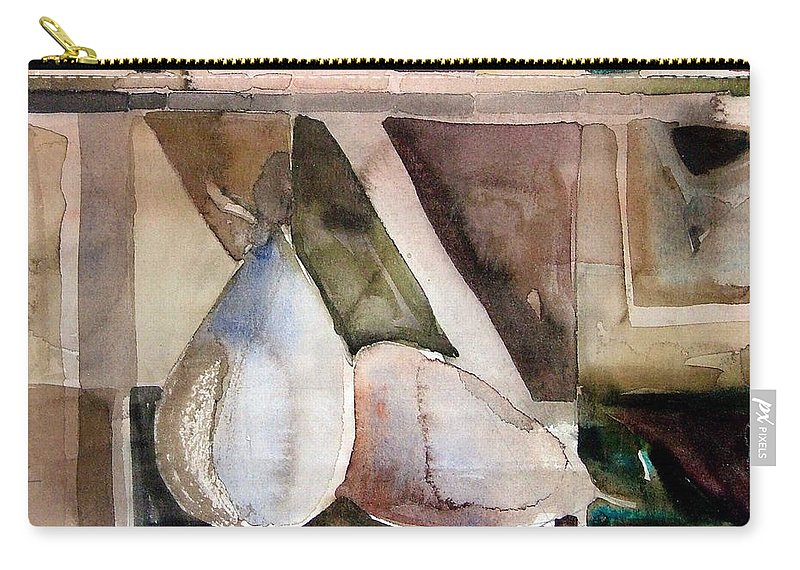 Pear Carry-all Pouch featuring the painting Pear Study In Watercolor by Mindy Newman