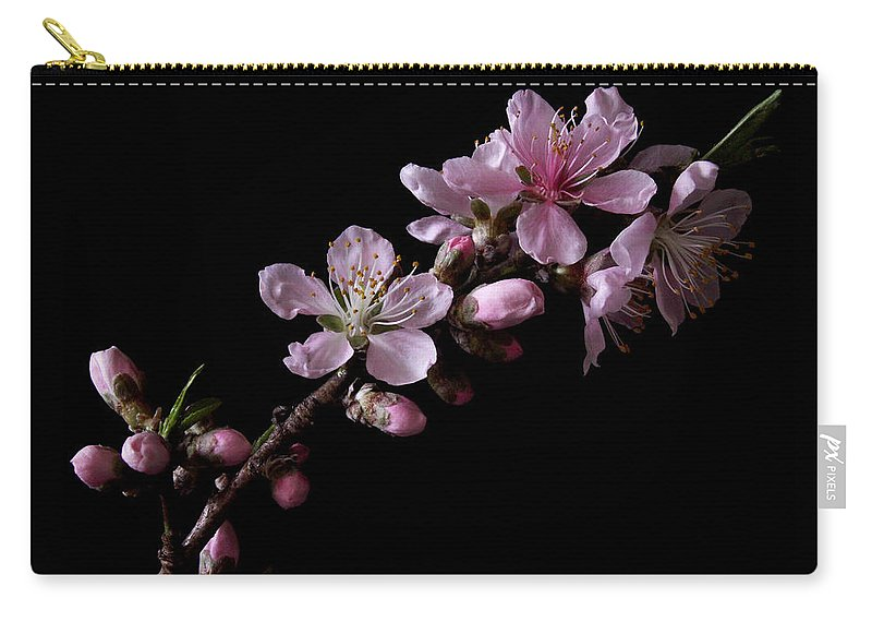 Peach Tree Carry-all Pouch featuring the photograph Peach Tree Blossum by Nancy Griswold