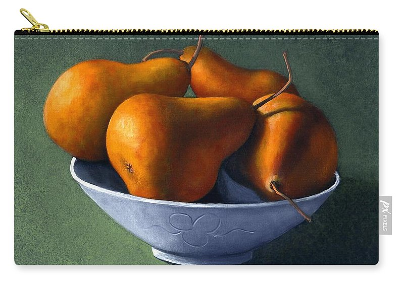 Still Life Carry-all Pouch featuring the painting Pears In Blue Bowl by Frank Wilson