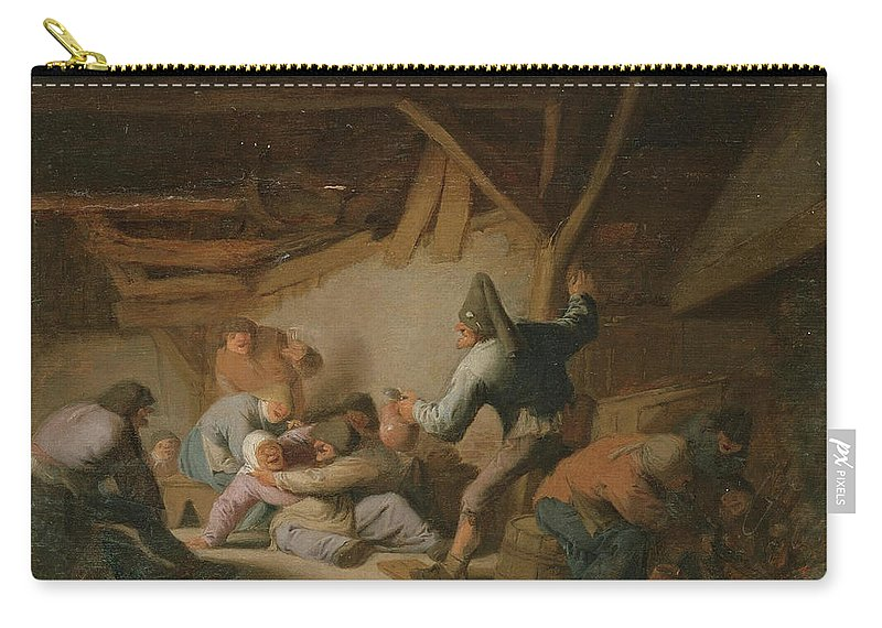 Adriaen Van Ostade Carry-all Pouch featuring the painting Peasant Brawl In A Tavern by Adriaen van Ostade