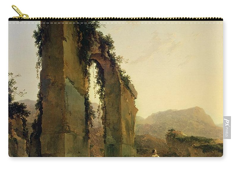 Peasants Carry-all Pouch featuring the painting Peasants With Cattle By A Ruined Aqueduct by Nicolaes Pietersz Berchem