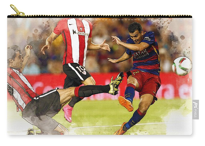 Uefa Chamipons League Carry-all Pouch featuring the digital art Pedro Rodriguez Kicks The Ball by Don Kuing