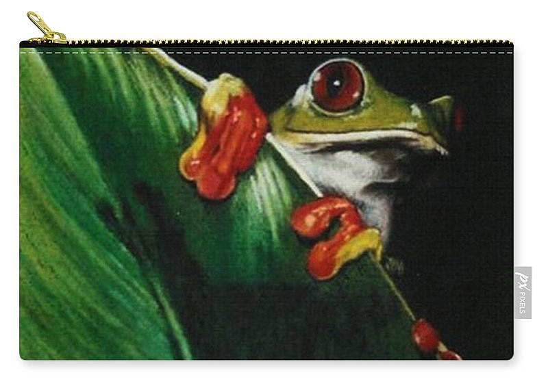 Frog Carry-all Pouch featuring the drawing Peek-a-boo by Barbara Keith