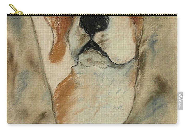 Beagle Carry-all Pouch featuring the drawing Peek A Boo by Cori Solomon