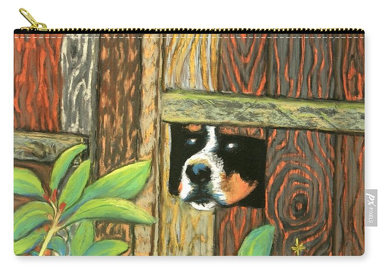 Dog Carry-all Pouch featuring the painting Peek-a-boo Fence by Minaz Jantz