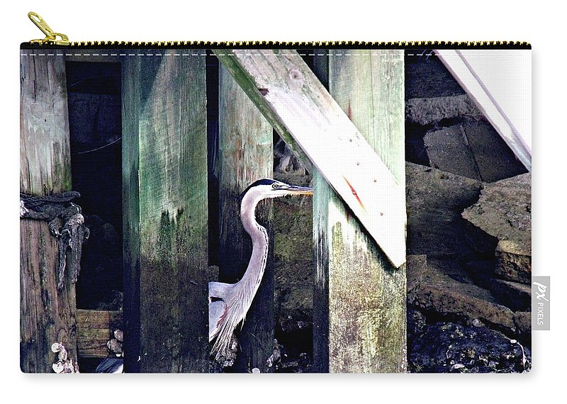 Heron Carry-all Pouch featuring the photograph Peek-a -boo by Marilyn Holkham