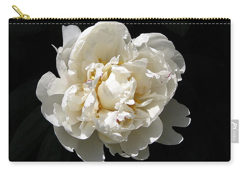 Flower Carry-all Pouch featuring the photograph Peekaboo Peony by Mary Ellen Mueller Legault