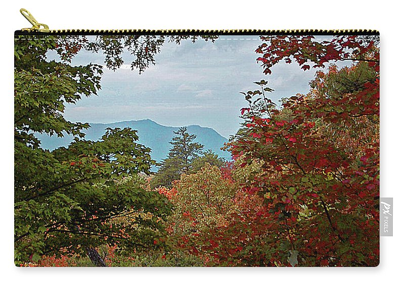 Mountains Carry-all Pouch featuring the digital art Peeking At The Smokies by DigiArt Diaries by Vicky B Fuller