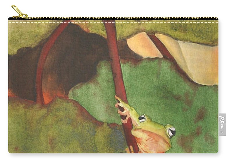 Frog Carry-all Pouch featuring the painting Peeping Tom by Jean Blackmer