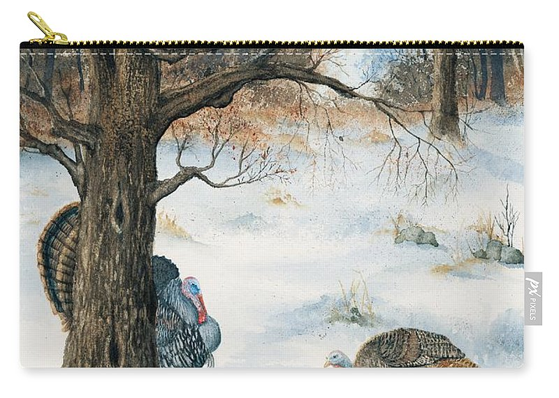 Turkey Carry-all Pouch featuring the painting Peeping Tom by Mary Tuomi