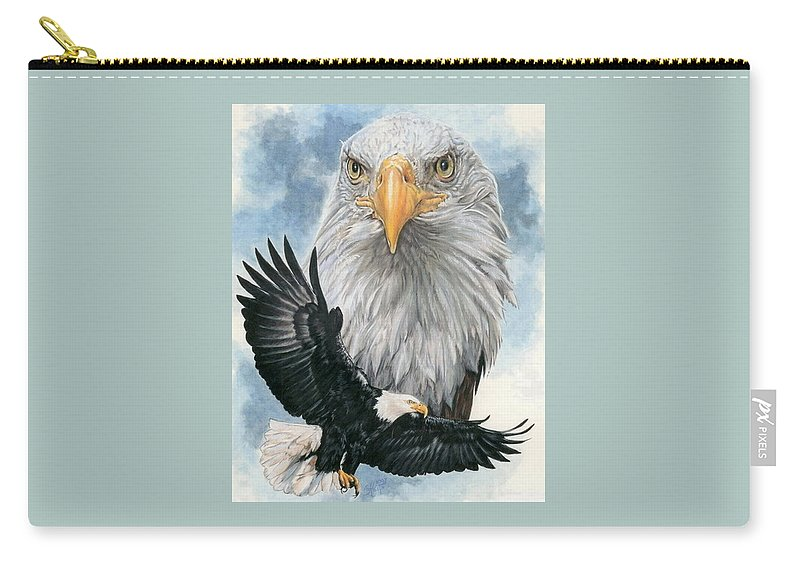 Bald Eagle Carry-all Pouch featuring the mixed media Peerless by Barbara Keith