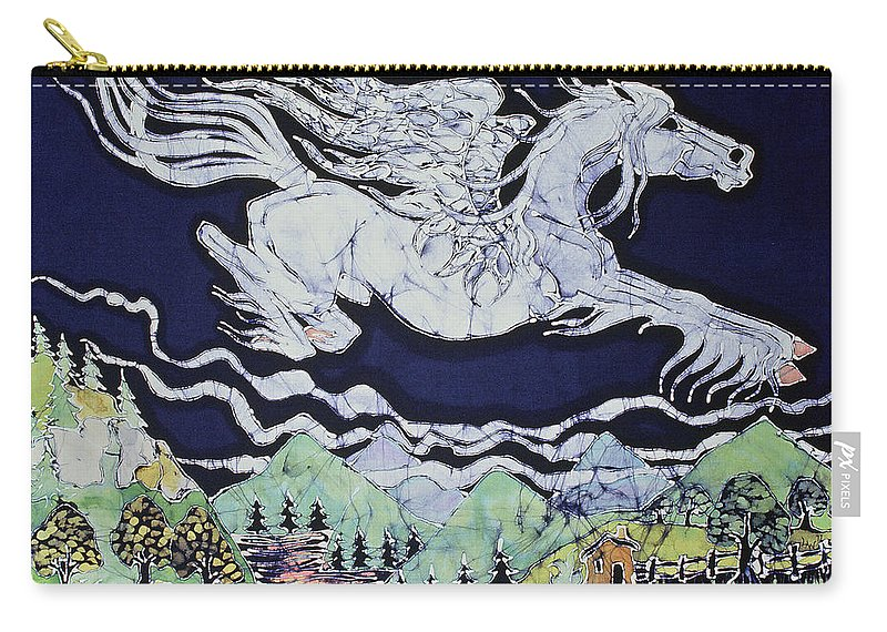 Fantasy Carry-all Pouch featuring the tapestry - textile Pegasus Flying Over Stream by Carol Law Conklin