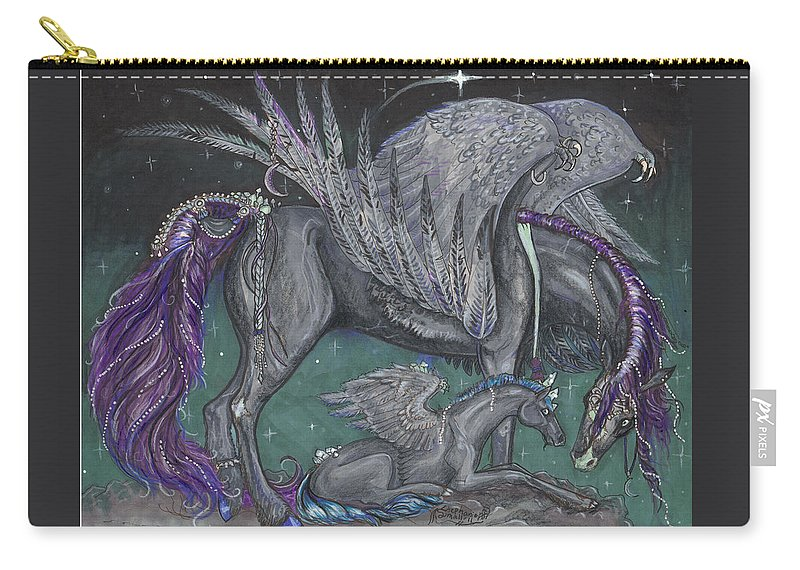 Equine Carry-all Pouch featuring the drawing Pegasus Mare And Foal by Stephanie Small