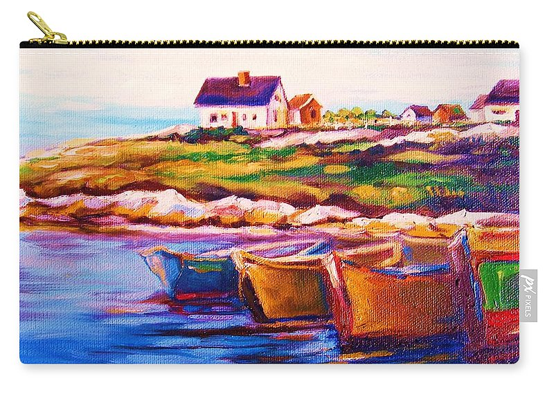 Row Boats Carry-all Pouch featuring the painting Peggys Cove Four Row Boats by Carole Spandau