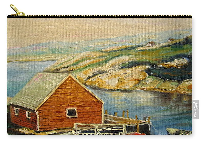 Peggy's Cove Harbor View Carry-all Pouch featuring the painting Peggys Cove Harbor View by Carole Spandau