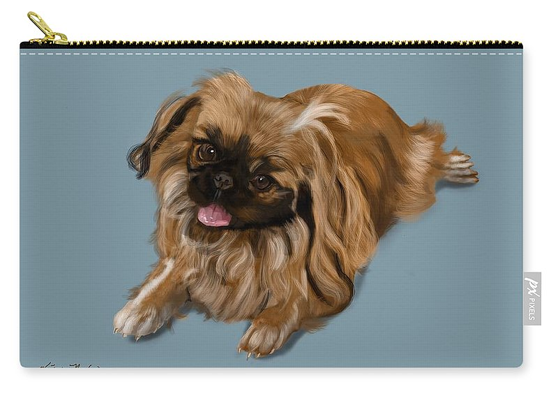 Pekingese Carry-all Pouch featuring the digital art Pekingese by Victoria Newton
