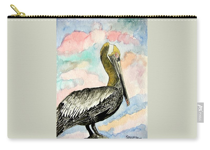 Watercolor Carry-all Pouch featuring the painting Pelican 2 by Derek Mccrea