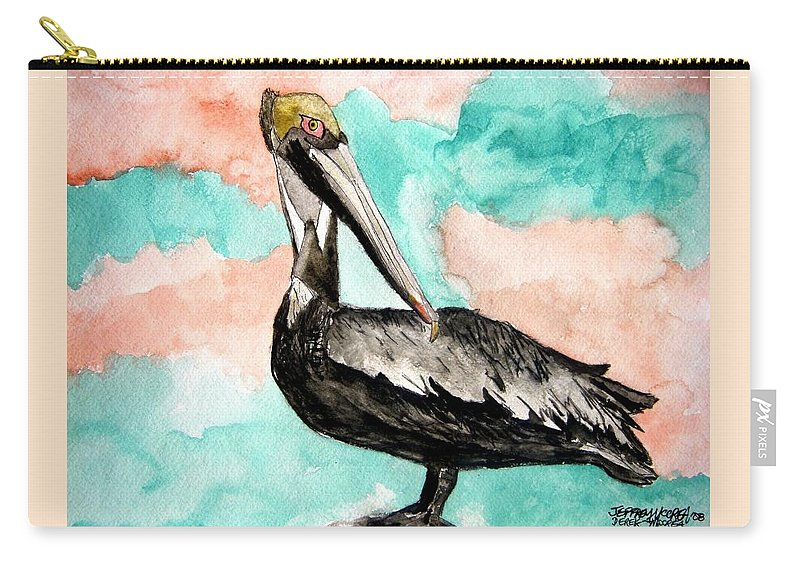 Bird Carry-all Pouch featuring the painting Pelican 3 by Derek Mccrea