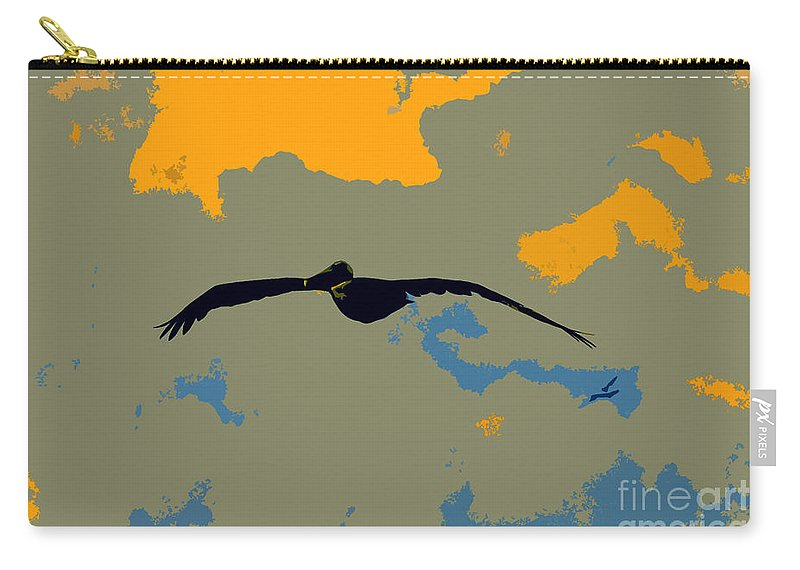 Pelican Carry-all Pouch featuring the photograph Pelican And Airplane by David Lee Thompson