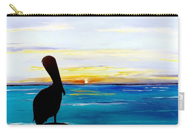 Sunset Painting Carry-all Pouch featuring the painting Pelican Bay by Carol Blackhurst