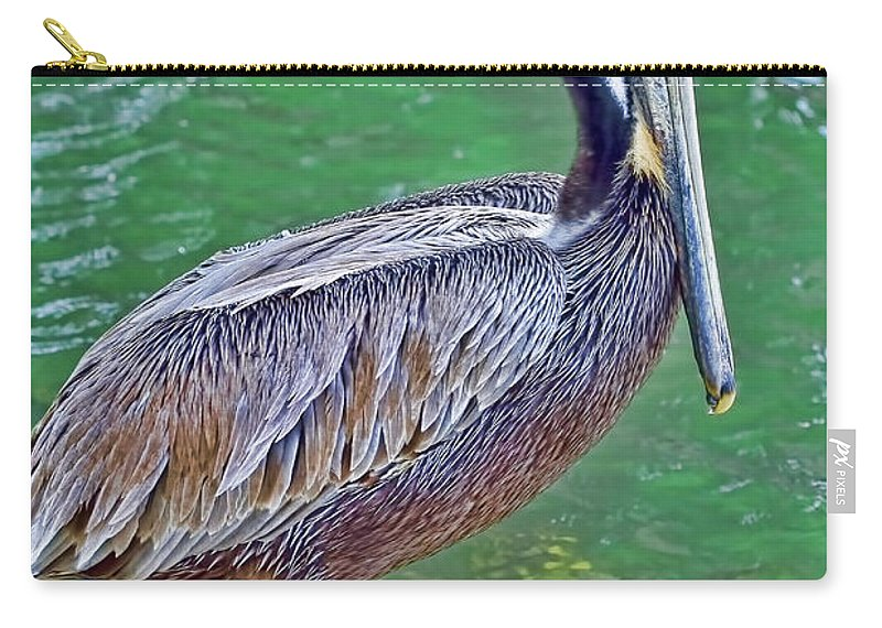 Pelican Carry-all Pouch featuring the photograph Pelican By The Pier by Deborah Benoit