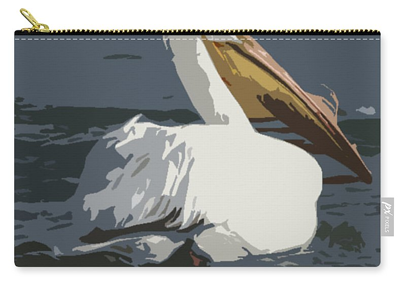 Pelican Carry-all Pouch featuring the photograph Pelican Cut Out by Heather Coen