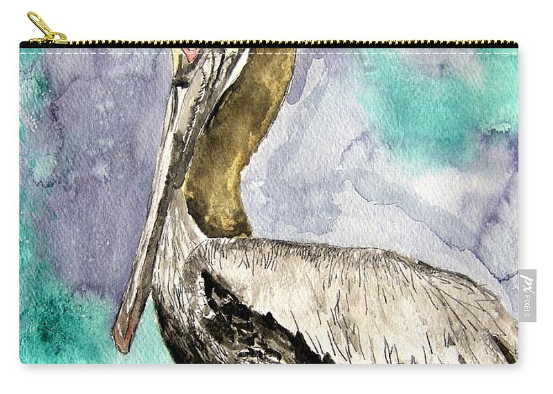 Pelican Carry-all Pouch featuring the painting Pelican by Derek Mccrea