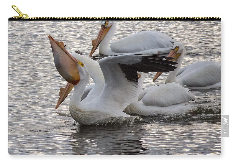 Sweet Carry-all Pouch featuring the photograph Pelican Having Supper by Deb Fedeler