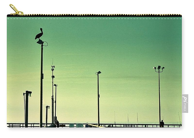 Americana Carry-all Pouch featuring the photograph Pelican On Watch Duty by Marilyn Hunt