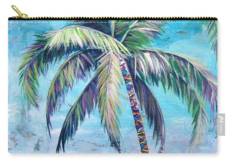 Blue Carry-all Pouch featuring the painting Pelican Palm II by Kristen Abrahamson