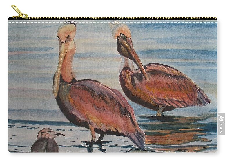 Pelicans Carry-all Pouch featuring the painting Pelican Party by Karen Ilari