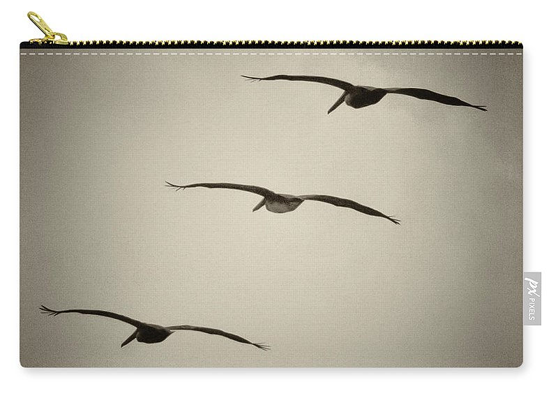 Pelican Carry-all Pouch featuring the photograph Pelicans Away by Roger Wedegis
