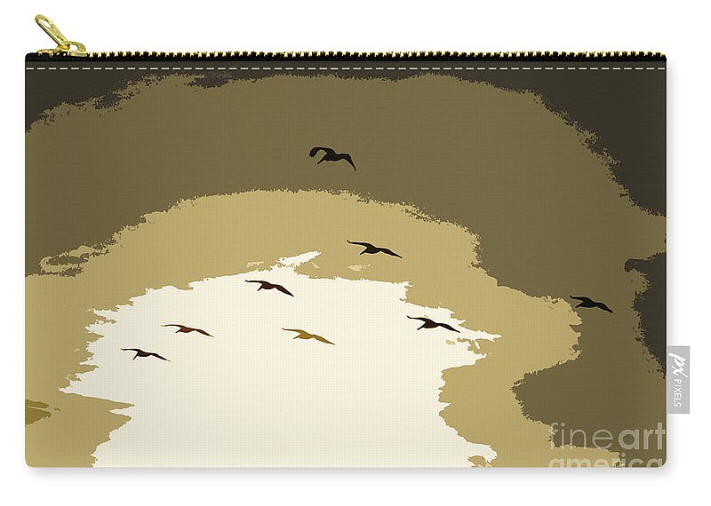 Pelican Carry-all Pouch featuring the photograph Pelicans On The Wing by David Lee Thompson