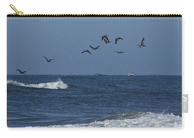 Pelicans Carry-all Pouch featuring the photograph Pelicans Over The Atlantic by Teresa Mucha