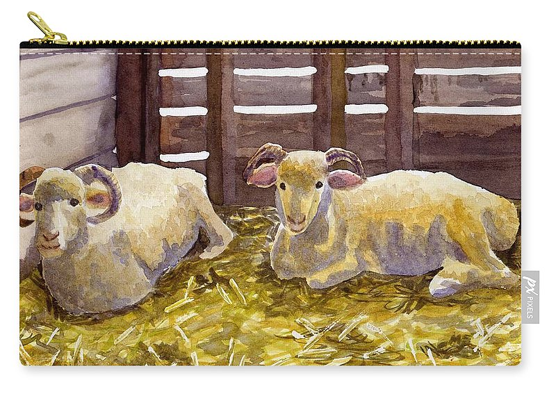 Sheep Carry-all Pouch featuring the painting Pen Pals by Sharon E Allen