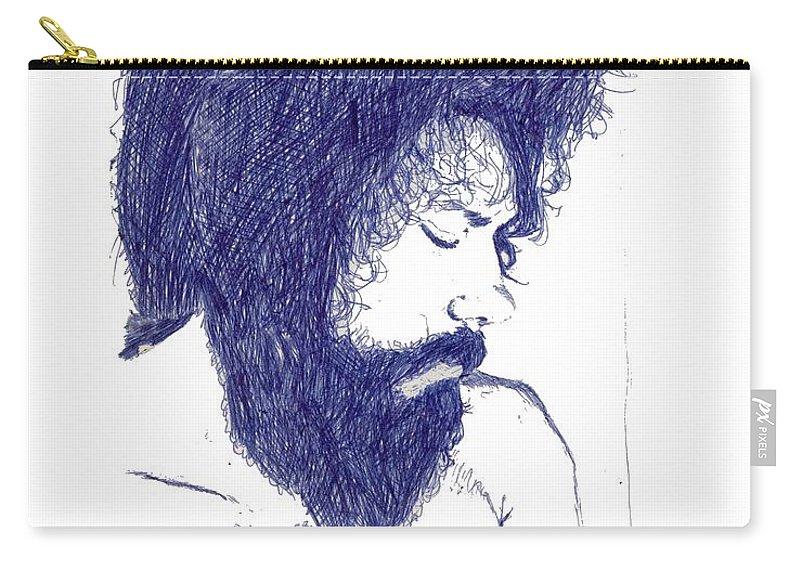 Portrait Carry-all Pouch featuring the digital art Pen Portrait by Ron Bissett