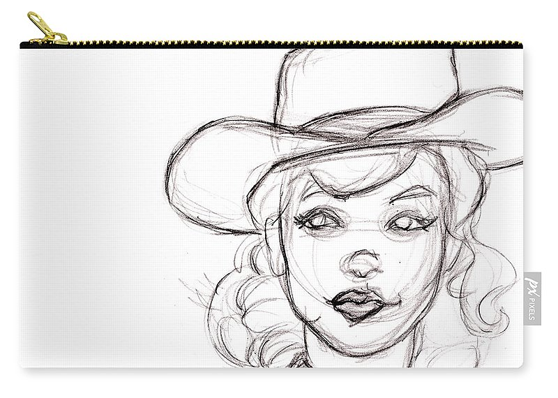 Pencil Sketch Drawing Of Retro Girl In Cowboy Hat Carry All Pouch