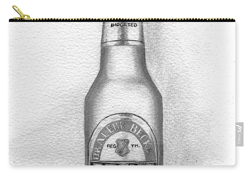 Bottle Carry-all Pouch featuring the drawing Pencil Work For My Art School by Alban Dizdari