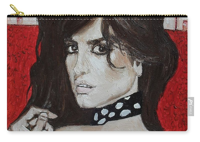 Impressionist Carry-all Pouch featuring the painting Penelope Cruz by Agnes V