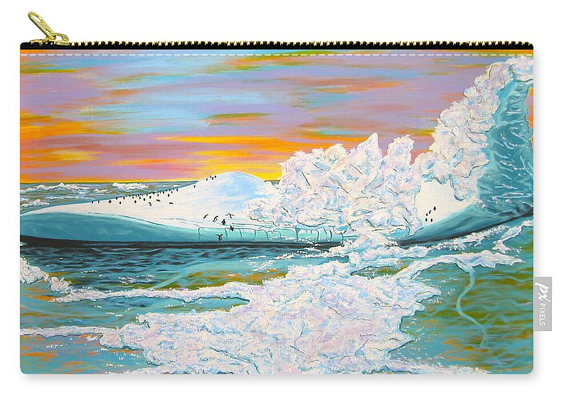 Ice Carry-all Pouch featuring the painting The Last Iceberg by V Boge