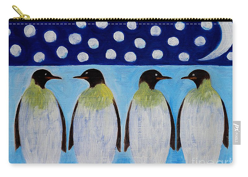 Penguins Carry-all Pouch featuring the painting Penguins Talking by Patrick J Murphy