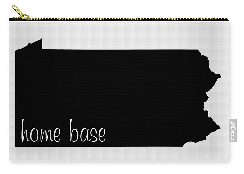 Pennsylvania Carry-all Pouch featuring the digital art Pennsylvania Is Home Base Black by Custom Home Fashions