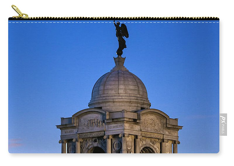 Adams County Carry-all Pouch featuring the photograph Pennsylvania Monument At Gettysburg by John Greim