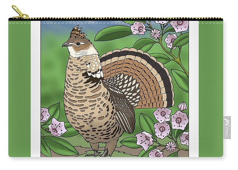 pennsylvania state bird grouse and flower laurel carry all pouch for